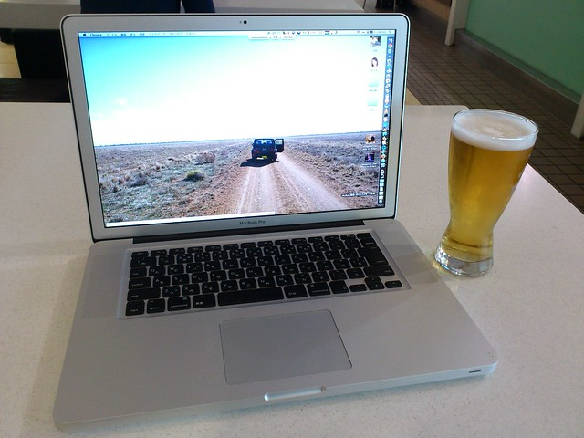 Laptop and beer at SYD