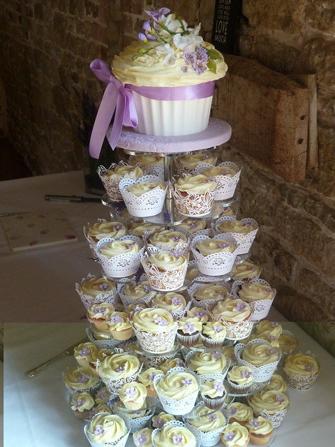 Wedding Cupcake Tower With Giant Cupcake