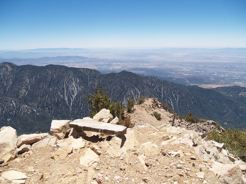 The famous stone bench on the San Bernardino Peak Trail