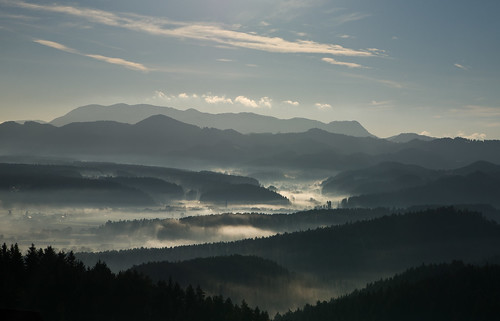 mist fog landscape slovenia