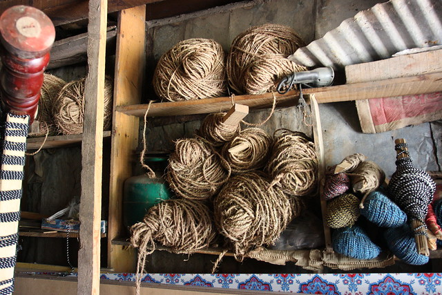 Bed making, twine to hold it all together, Kashmir