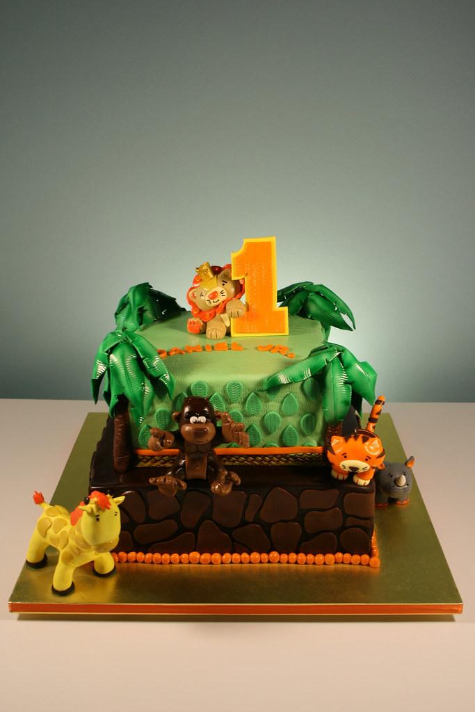Jungle Animal Theme 1st Birthday Cake A Photo On Flickriver