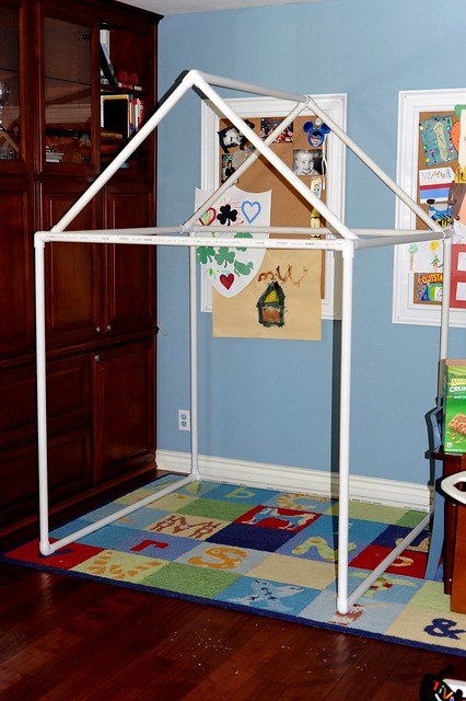 pvc pipe fort playhouse tutorial flickr photo sharing