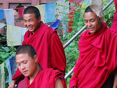 monks heading to dzong