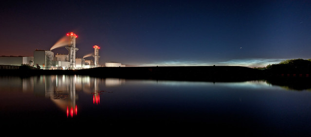 Staythorpe Power Station against noctilucent clouds