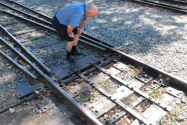 Ed McCamey Inspects 3-way Stub Turnout for Conformance