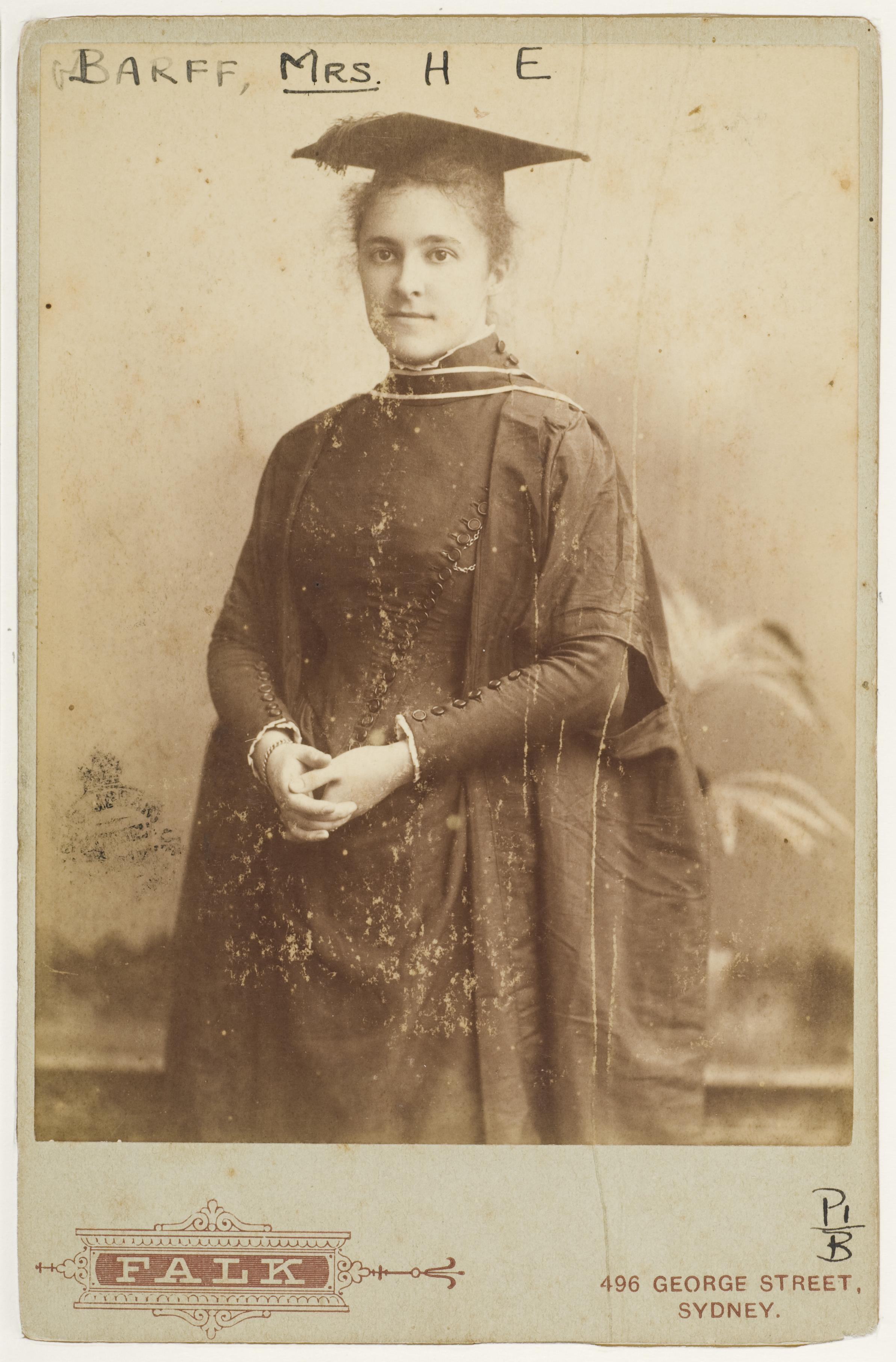 Jane Foss Barff (nee Russell), educationist, 29 November 1890 / photograph by Falk