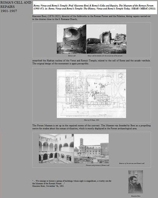 Rome, Venus and Roma's Temple: Prof. Giacomo Boni & Roma's Cella and Repairs, The Museum of the Roman Forum (1901-07). in: Rome, Venus and Roma's Temple. (SSBAR / MIBAC (2011).