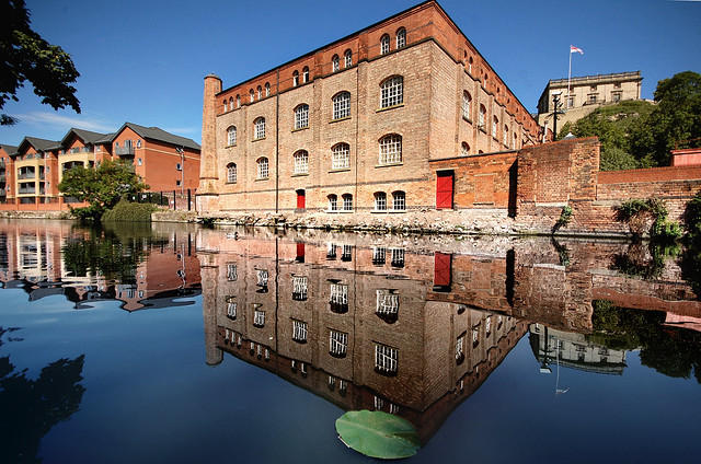 Victorian warehouse with Nottingham Castle in the background