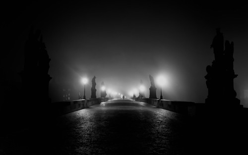 *** Silhouette on Prague Charles Bridge at Night