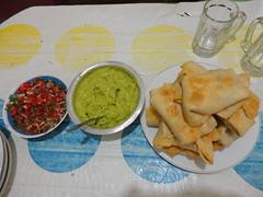 Chimis, guac, and salsa