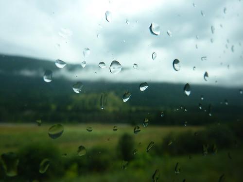 Rain on the window of the Rocky Mountaineer