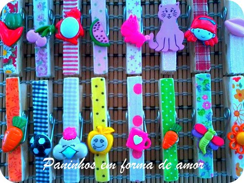 Pregadores decorados by ♥Paninhos em forma de amor♥