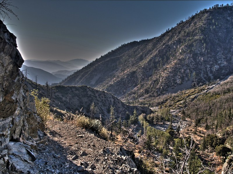 HDR shot looking back down the canyon on the Middle Fork Lytle Creek Trail