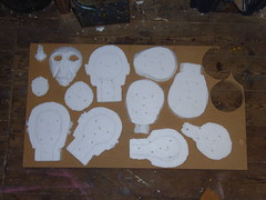 Slices through a carved polystyrene head