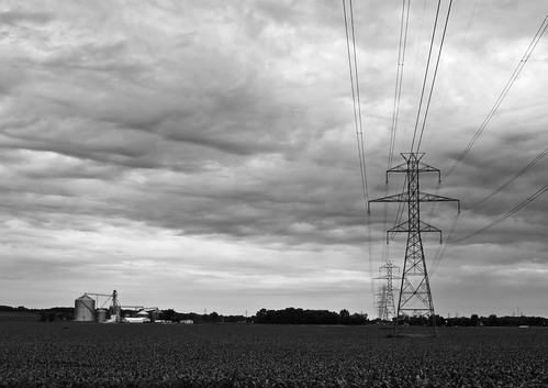 sunset blackandwhite bw cloudy michigan farm electricity pylons ourdailychallenge