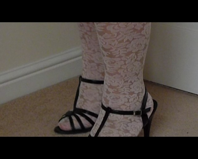 Strappy High Heels With White Floral Tights Flickr