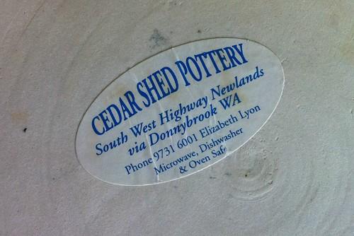 Cedar Shed Pottery label