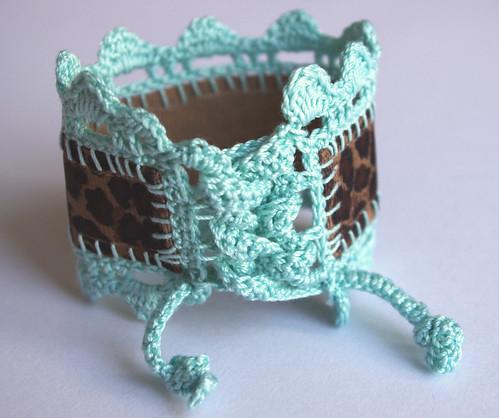 Turquoise Crochet jewelry cuff bracelet