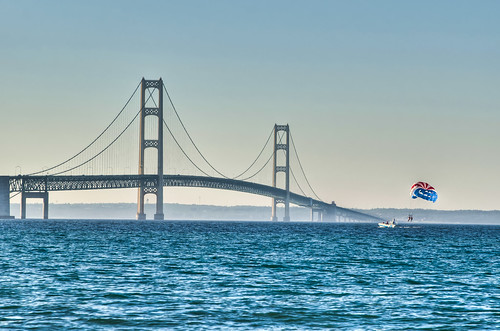 sunset bridges upper lower rv peninsula mackinacbridge straitsofmackinac suspensionbridges mackinawcity