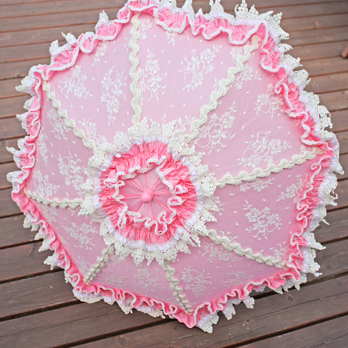Pink Parasol with Ivory Lace