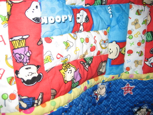 Rail Fence Detail Snoopy Quilt