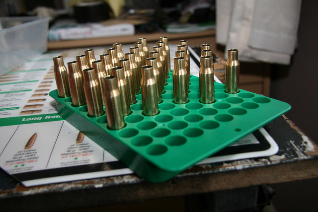 Rinse and Repeat - Tray of cleaned and sized brass cases...