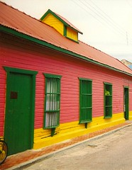 Vividly painted building, Mexico