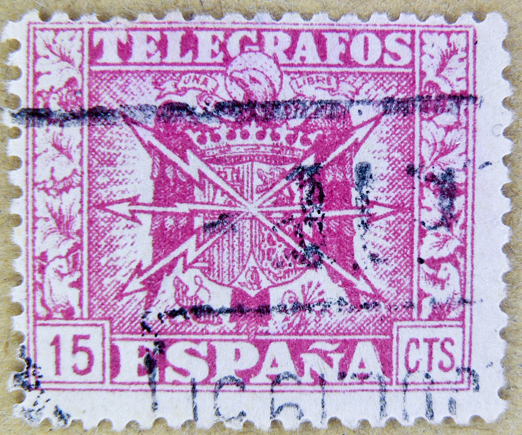 Vintage Old Spanish Stamp Spain 15 Cts Sellos Telegrafos Espana Postage
