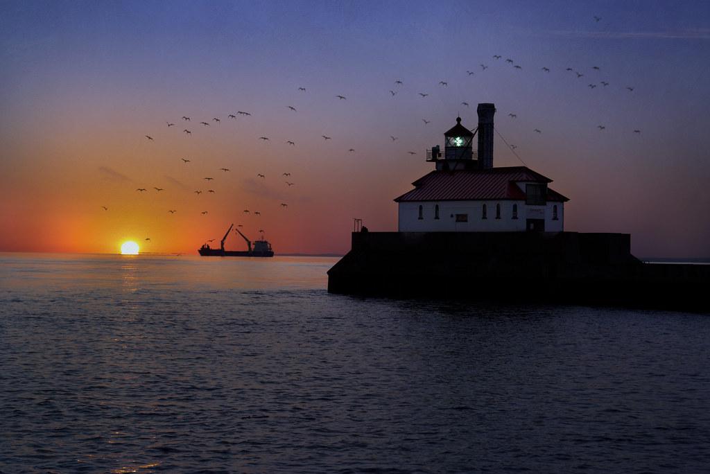 Lake Superior sunrise with fishing boat