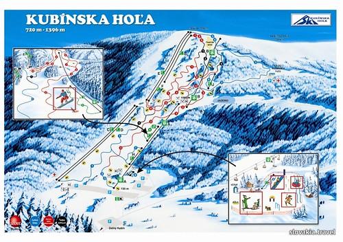 Kubínska hoľa - mapa sjezdovek