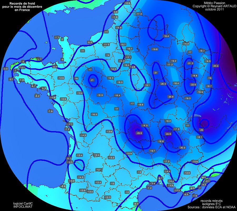 records mensuels de froid des températures minimales pour le mois de décembre en France Reynald ARTAUD météopassion