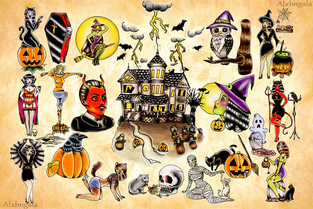 Halloween Tattoo Flash by:Alxbngala | Flickr - Photo Sharing!