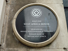 Photo of Bank of British West Africa, Arnold Thornely, Frank Gatley Briggs, and Henry Vernon Wolstenholme black plaque