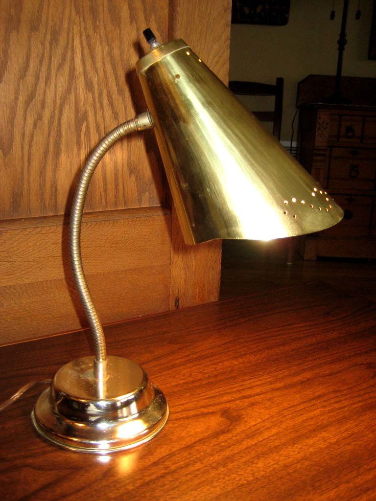 1950's 60's Mid century Brass Conical Atomic Metal Desk / Task Lamp