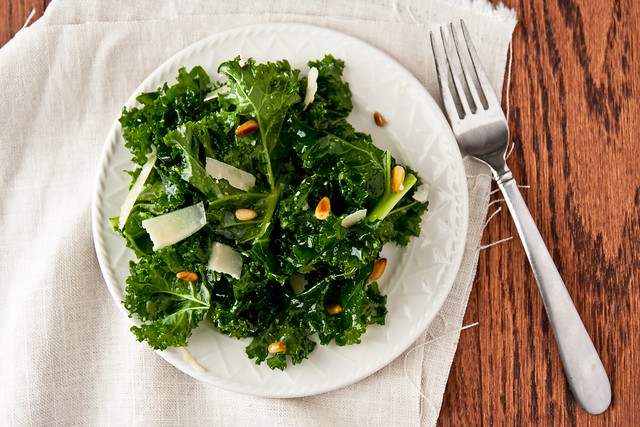 Kale with Pine Nuts and garlic Vinaigrette
