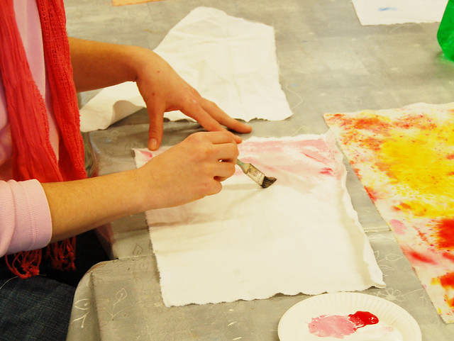 Painting with fabric paint on cloth