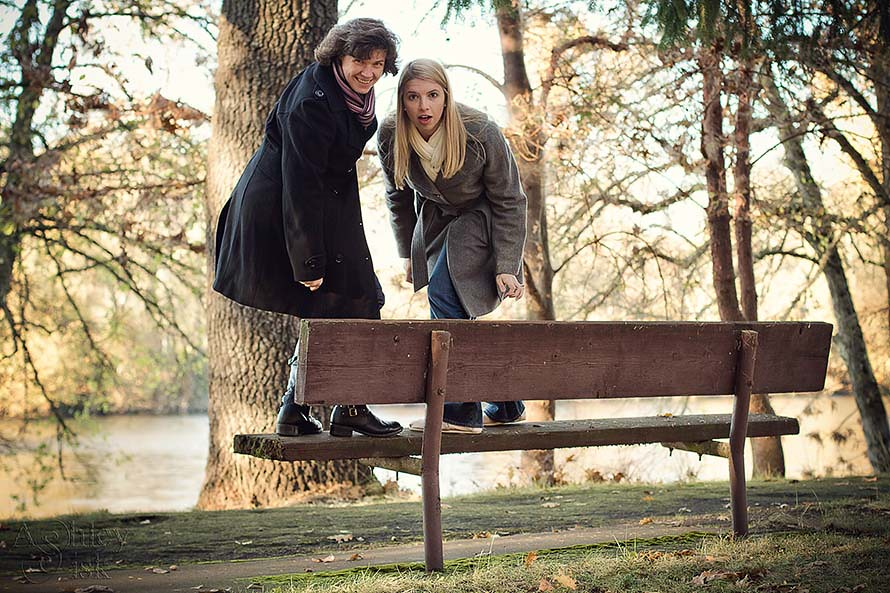 Kat and Ashley on a Bench RS