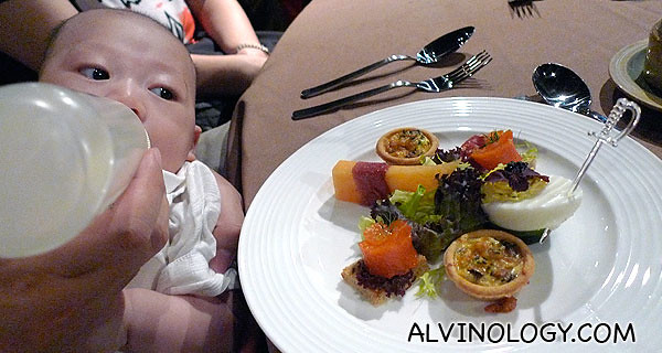 When the food was served, Asher cried for his milk at the same time