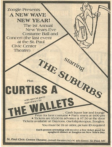 12-31-80 Suburbs/Curtiss A/The Wallets @ St. Paul, MN