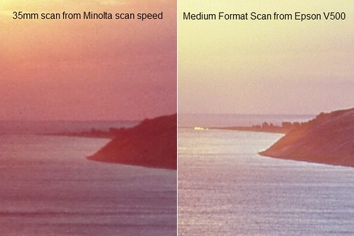 35mm dedicated scanner VS Medium format on a flatbed scanner