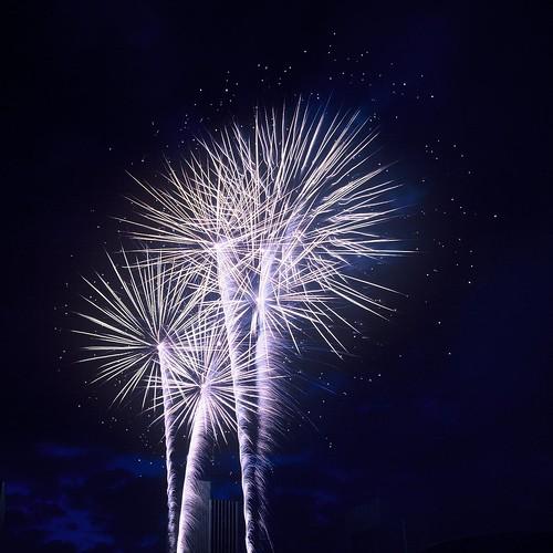 Fireworks at Empire State Plaza, Albany, N.Y., shot with Kodak Ektachrome 64T