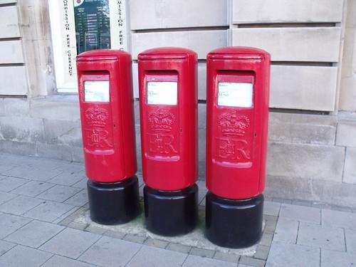 Post Office, Leamington Spa - three red post boxes - E II R