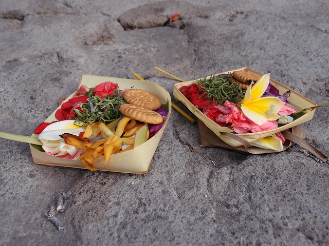 Offerings for God. Tanah Lot Temple - Bali Indonesia