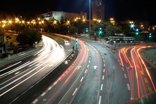 road bridge light bus car night drive israel sony jerusalem clear trail headlight crossroad signal taillight gesherhameitarim dsch50 jerusalemchordsbridge