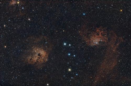 """Interstellar space"". Nebulosity and star clusters in Auriga."