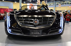automobile, automotive exterior, exhibition, cadillac, vehicle, automotive design, auto show, grille, land vehicle, luxury vehicle, sports car, motor vehicle,