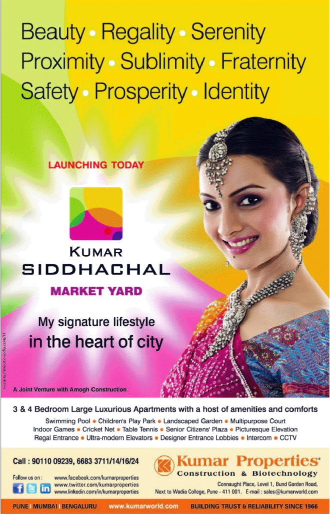 Kumar Siddhachal 3 BHK & 4 BHK Flats at Market Yard Pune 411 037