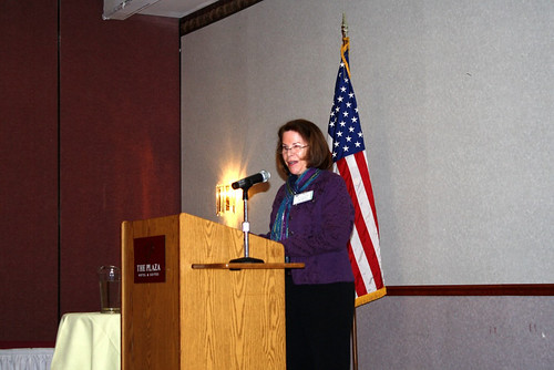 Pat Leavenworth, NRCS Wisconsin State Conservationist, welcomes attendees to the 2012 USDA Interagency Conference. NRCS is the current lead agency for Federal Women's Program, who hosts the conference.