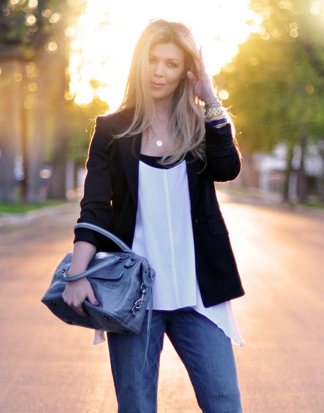 black blazer- rebecca minkoff mab  bag-hair-sun-jeans-outfit